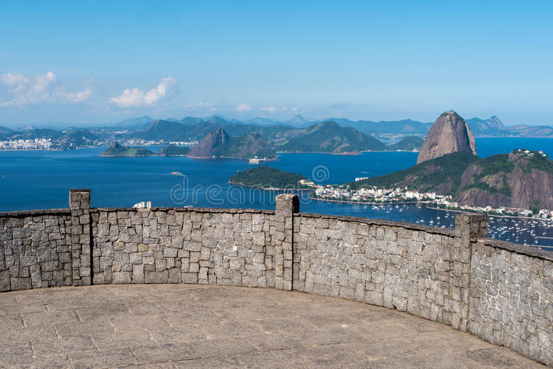 Sugarloaf Mountain View. Dona Marta Lookout Point with the Famous View of Rio de Janeiro City royalty free stock photos