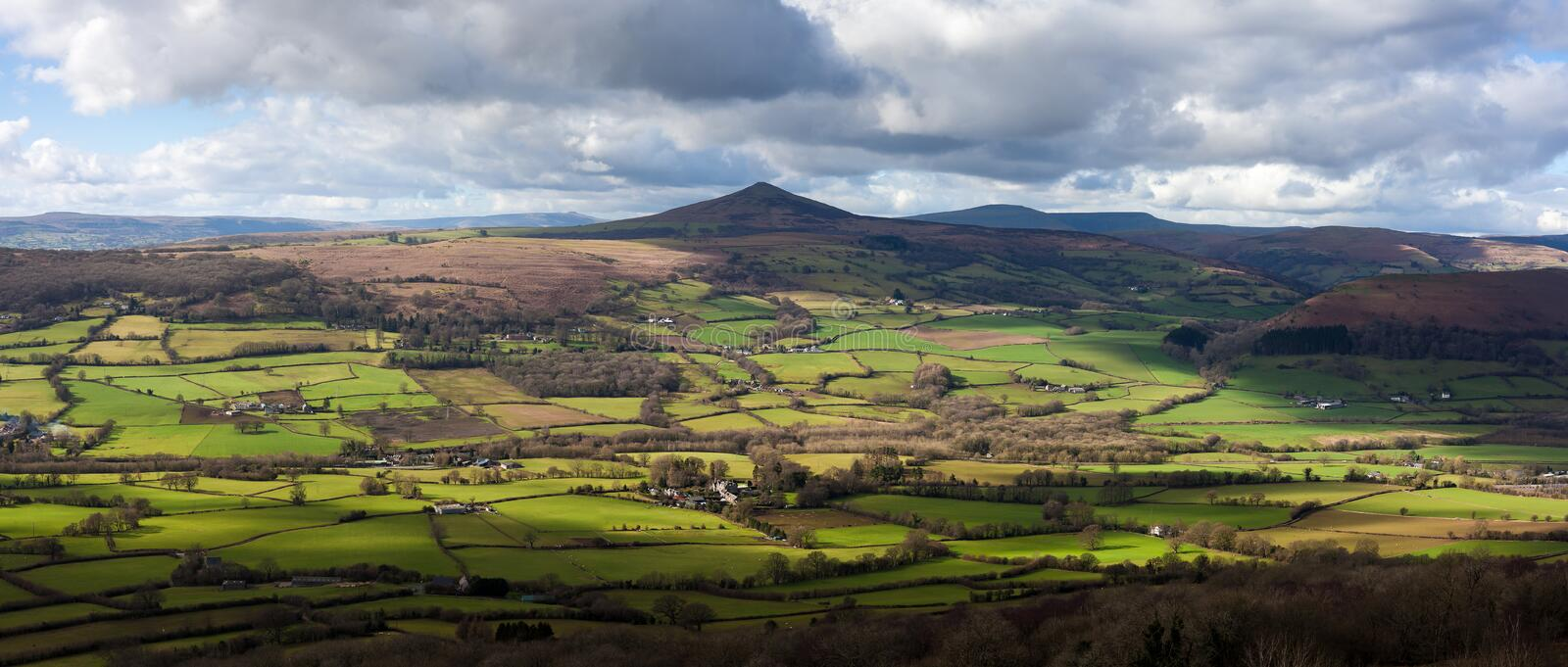 Sugarloaf Mountain Wales. The Sugarloaf, a mountain situated north west of Abergavenny in Monmouthshire, Wales royalty free stock photos