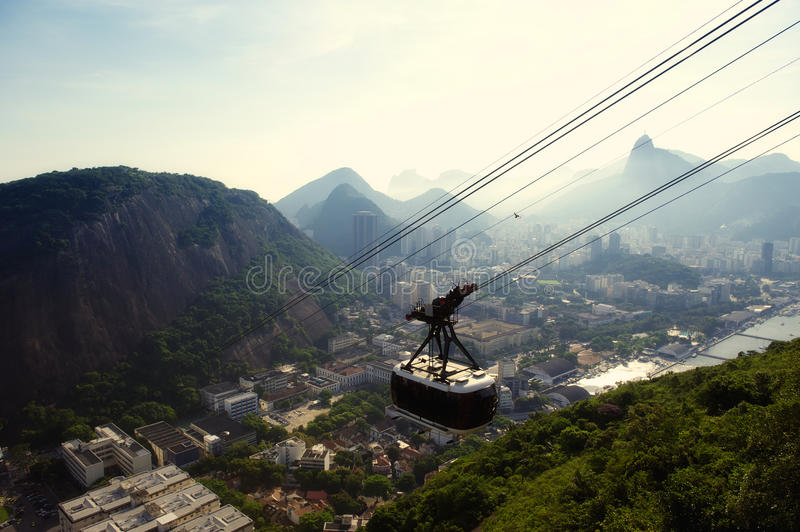 Sugarloaf Pao de Acucar Mountain Cable Car Rio Skyline royalty-vrije stock afbeelding