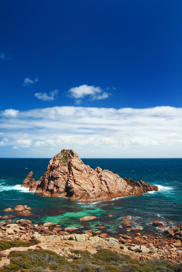 Sugarloaf Rock. On the seaside in Western Australia stock photography