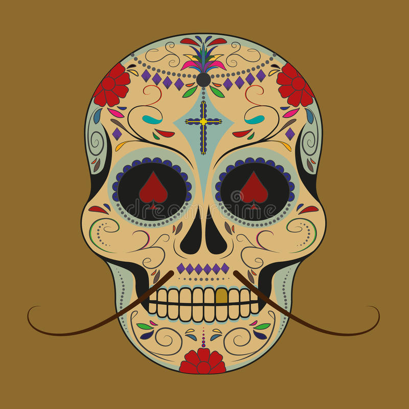 Sugarskull with moustaches royalty free stock photo