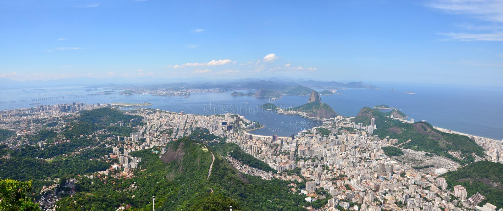 Suggar Loaf, Botafogo, Copacabana beach viewed from Corcovado. Rio de Janeiro, Brazil. Suggar Loaf, Botafogo, Copacabana beach viewed from Corcovado stock photos