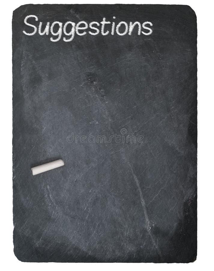 Suggestion box concept using chalk on slate blackboard stock photography
