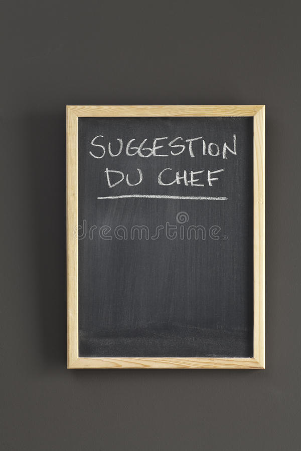 Suggestion du chef on blackboard royalty free stock image