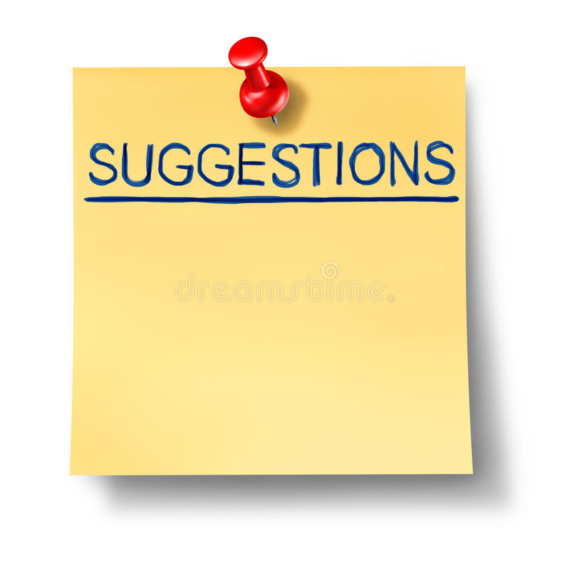 Suggestions list on yellow office note royalty free illustration