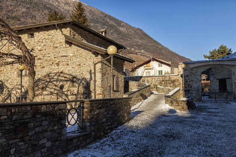 Suggestive glimpse of a street in the city of Tirano. Valtellina, Italy. Suggestive glimpse of a street in the city of Tirano. Valtellina. Italy royalty free stock image