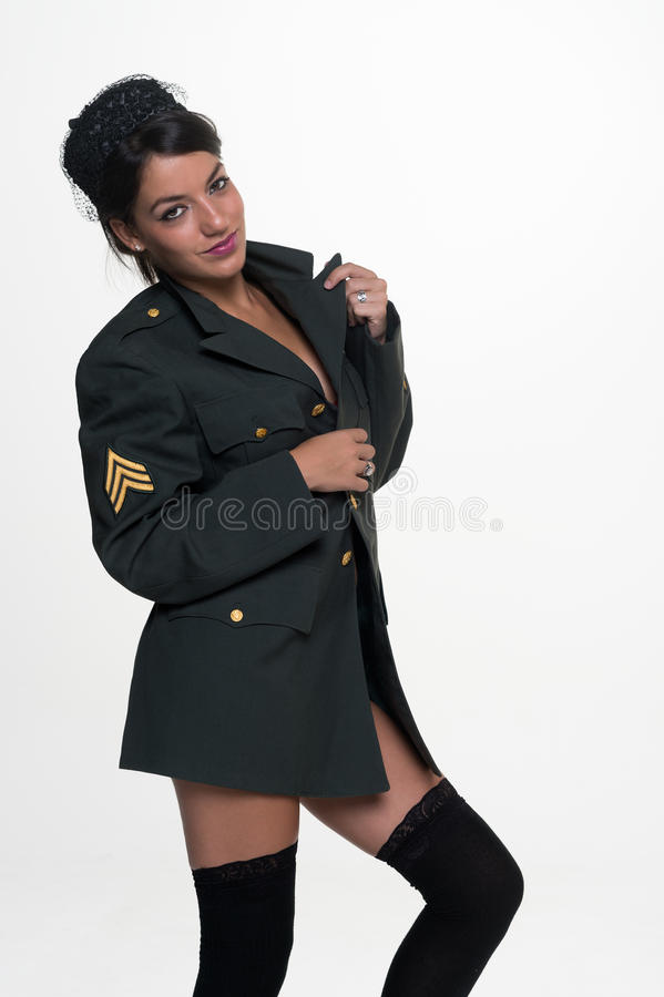 Suggestive military woman stock photos