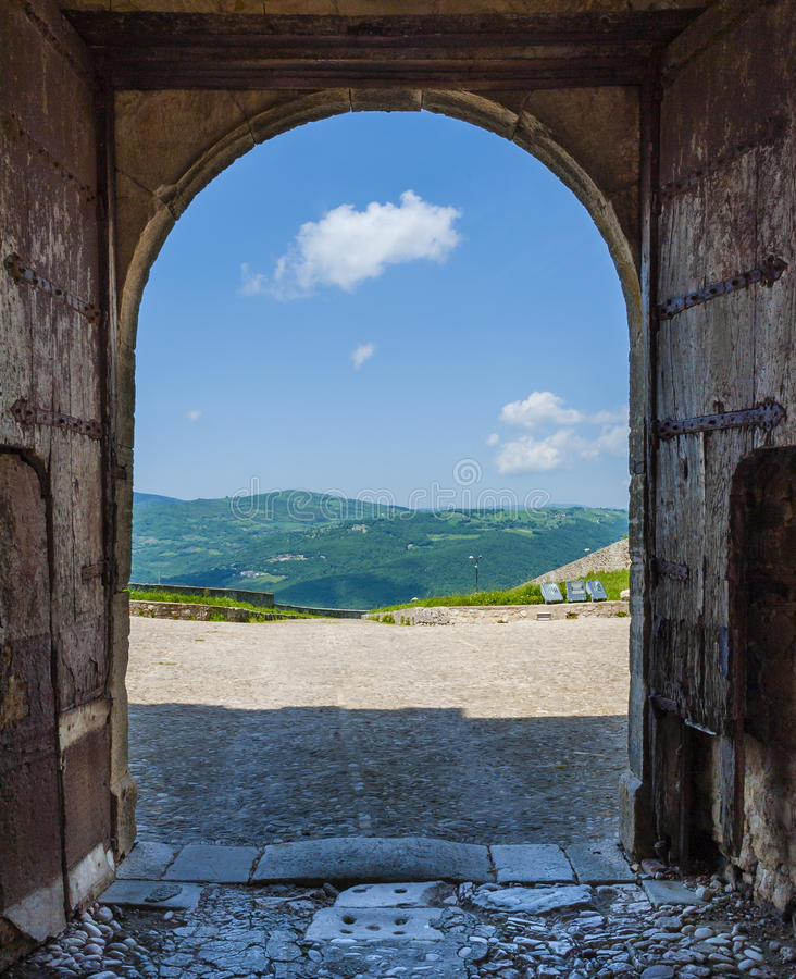 Suggestive panoramic view of the southern Apennines. Through the door of the Cattle castles. Puglia, Italy royalty free stock photography
