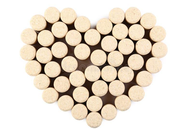 Sugheri del vino nella forma del cuore immagine stock libera da diritti