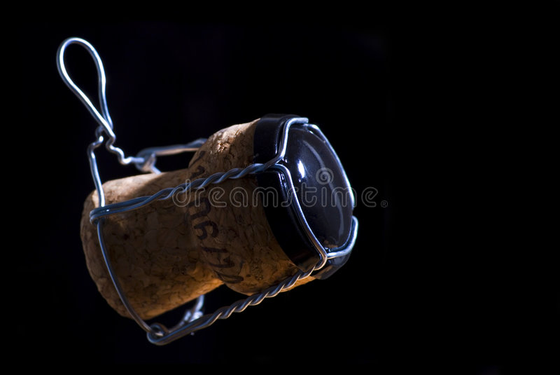 Sughero di Champagne isolato fotografia stock