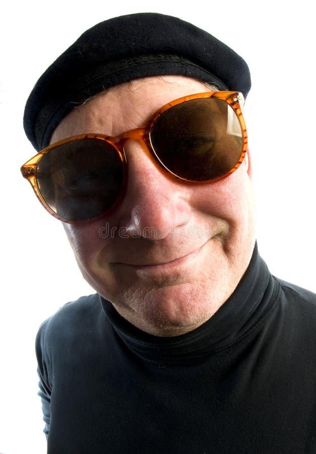 Suglasses francesi del berreto dell'uomo fotografia stock