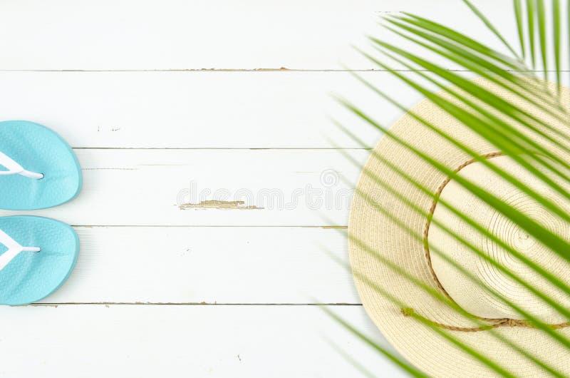 Sugrörhatt för bästa sikt och strandhäftklammermatare på vit Plan lekmanna- sommarsemester arkivfoto