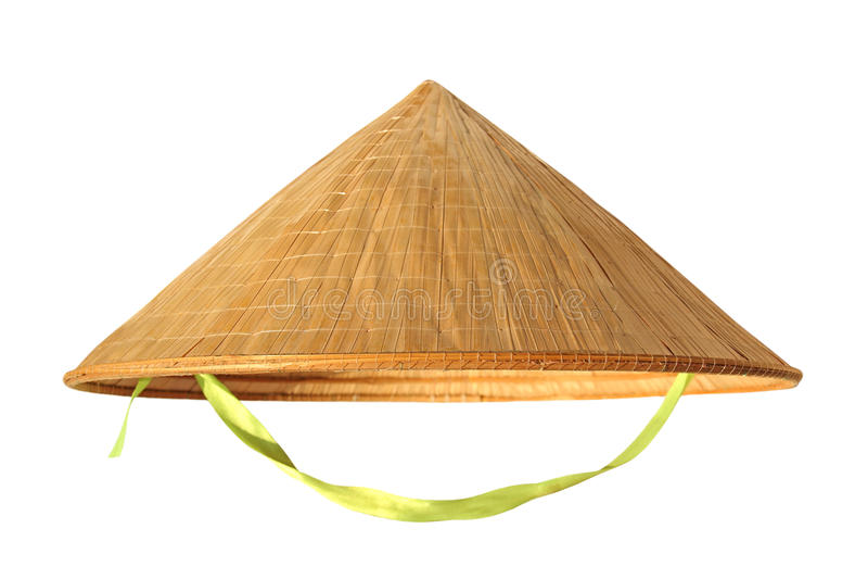 Sugrörhatt från Vietnam på vit arkivfoto