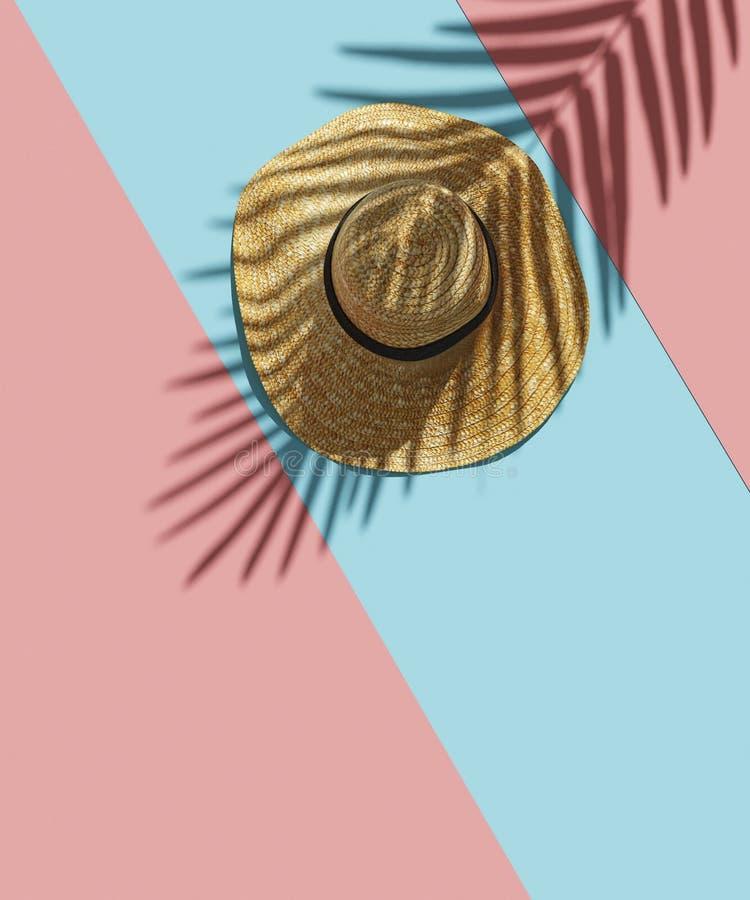 Sugrörhatt och skugga av tropiska palmblad på ljus rosa bakgrund för blåa band Minsta sommarbegrepp Lekmanna- idérik lägenhet 3 stock illustrationer