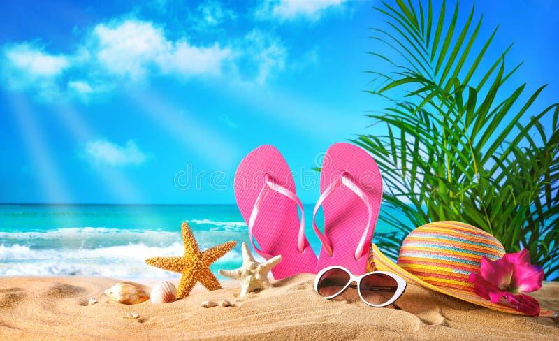 Sugrörhatt och solglasögon på stranden royaltyfri bild