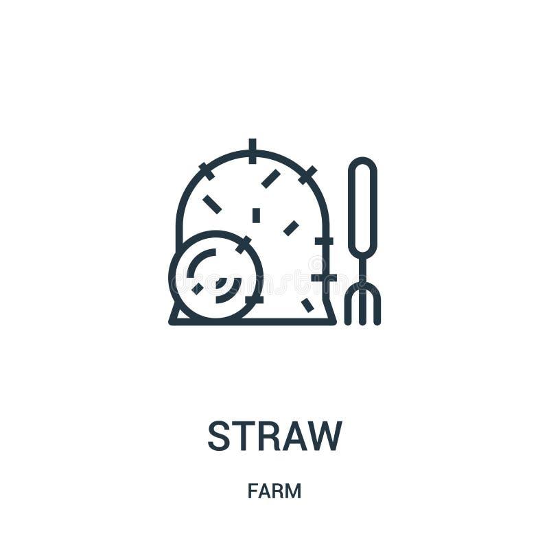 sugrörsymbolsvektor från lantgårdsamling Tunn linje illustration för vektor för sugröröversiktssymbol r stock illustrationer