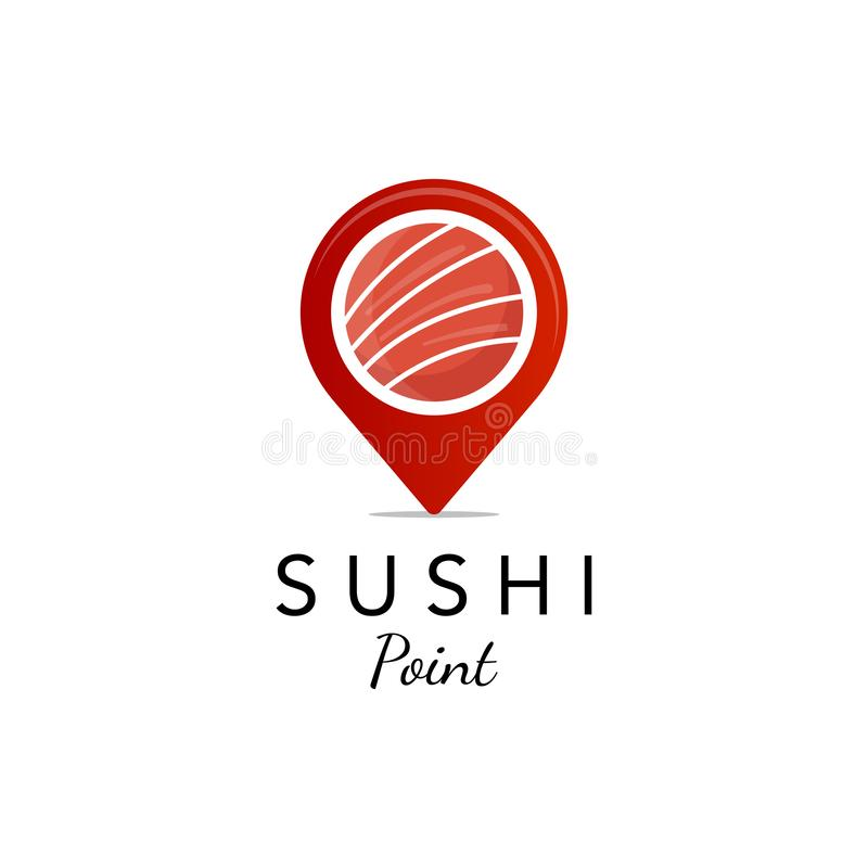Suhsi point logo designs, for food company royalty free illustration