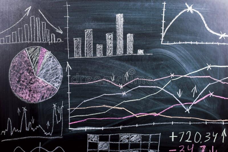 Sui grafici della lavagna e sui modelli tirati di crescita e di riduzione del cryptocurrency Scuola di formazione di affari fotografia stock