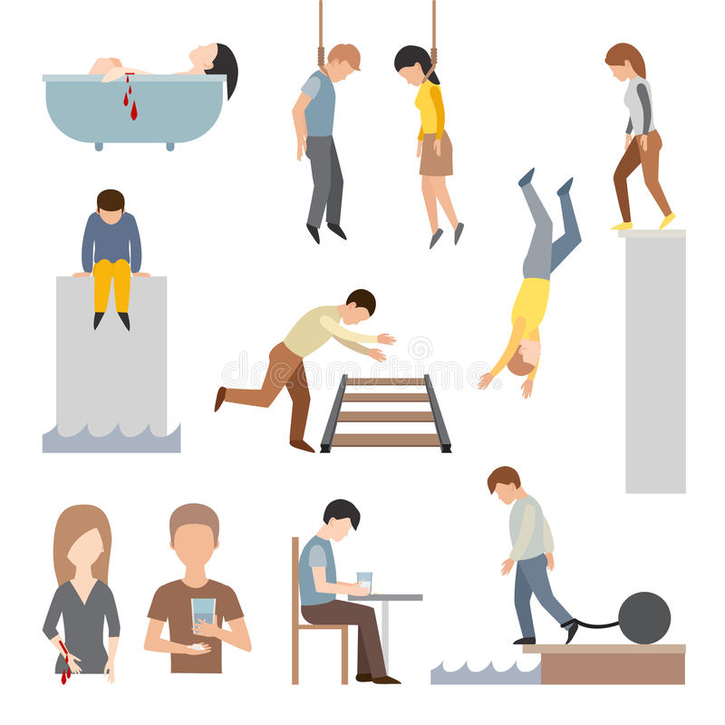 Suicidal commit suicide people methods stick cartoon figure flat vector icons. Suicide people cartoon symbols and suicide flat character alone people vector royalty free illustration