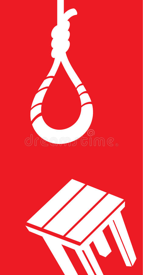 Suicide. Symbols of suicide - rope loop and chair vector illustration