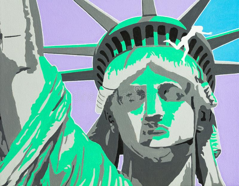 Suicide in the Cyberworld. Modern art conceptual painting of the depiction of a suicide attempt from the Statue of Liberty royalty free illustration