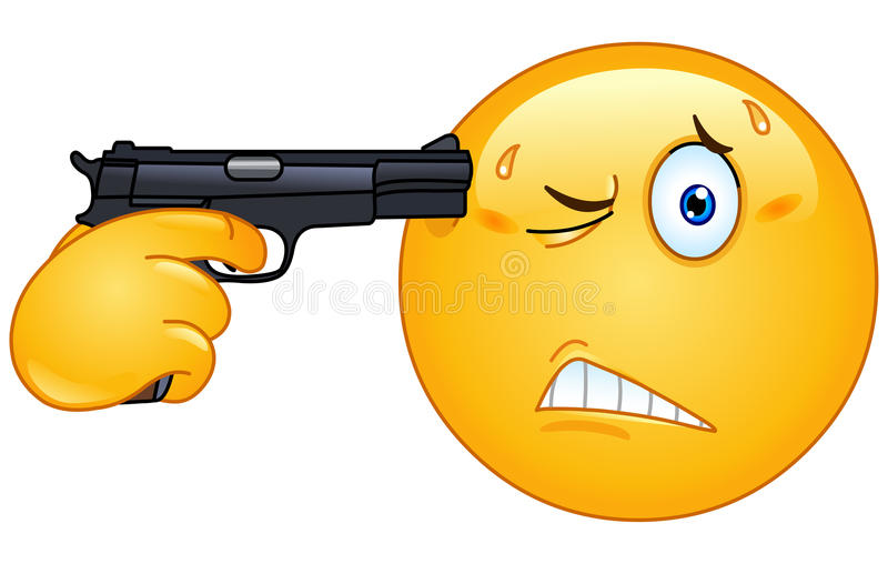 Suicide emoticon. Emoticon pointing a gun on his head