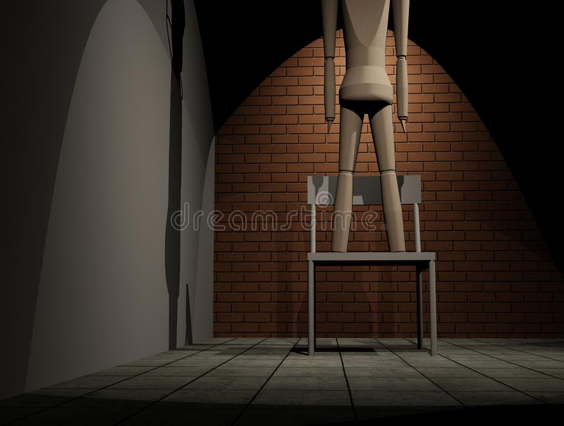 Suicide by hanging. Concept of suicide by hanging 3D Illustration stock illustration