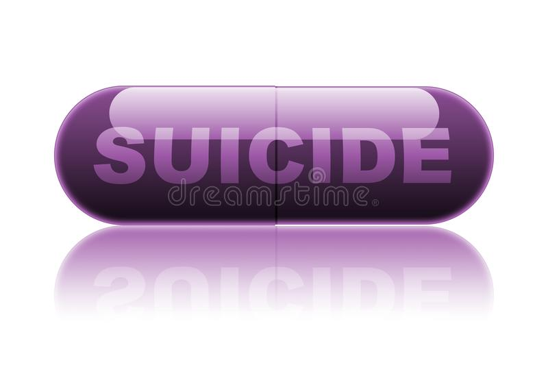 `Suicide` pill illustration royalty free illustration