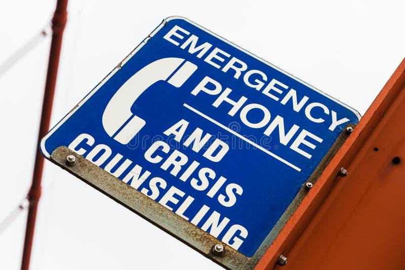 Suicide Prevention Sign. Golden Gate Bridge, San Francisco, California, USA stock image