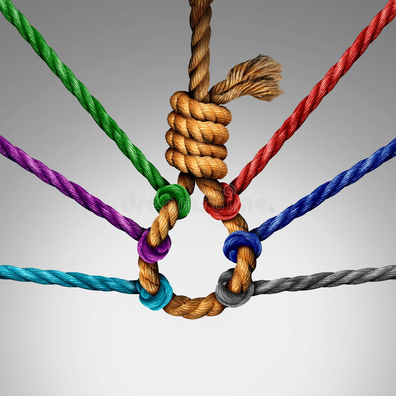 Suicide Prevention Support. And group intervention symbol as a rope shaped in a suicidal noose with a group of diverse ropes preventing the danger by pulling stock illustration