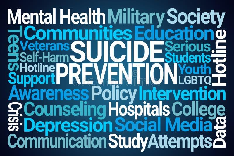 Suicide Prevention Word Cloud. On Blue Background vector illustration
