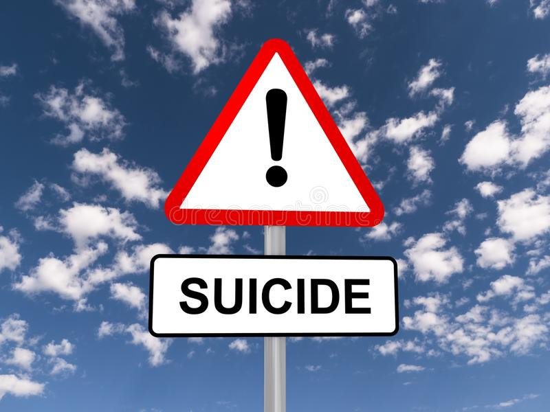 Suicide warning sign. With an exclamation mark; blue sky and cloudscape background royalty free stock photos