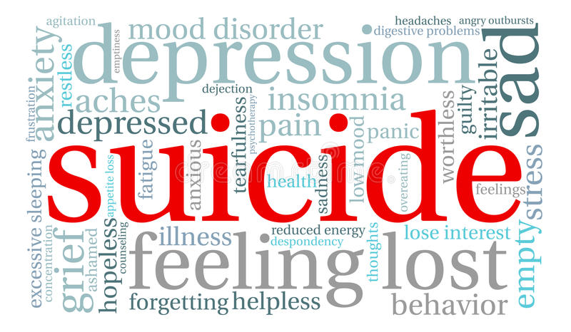 Suicide Word Cloud. On a white background vector illustration