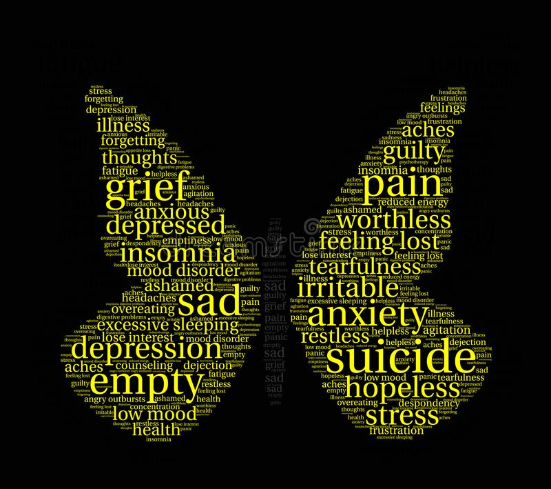 Suicide Word Cloud. On a white background royalty free illustration