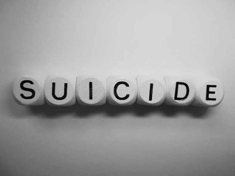 Suicidio de la palabra en dados de madera foto de archivo libre de regalías