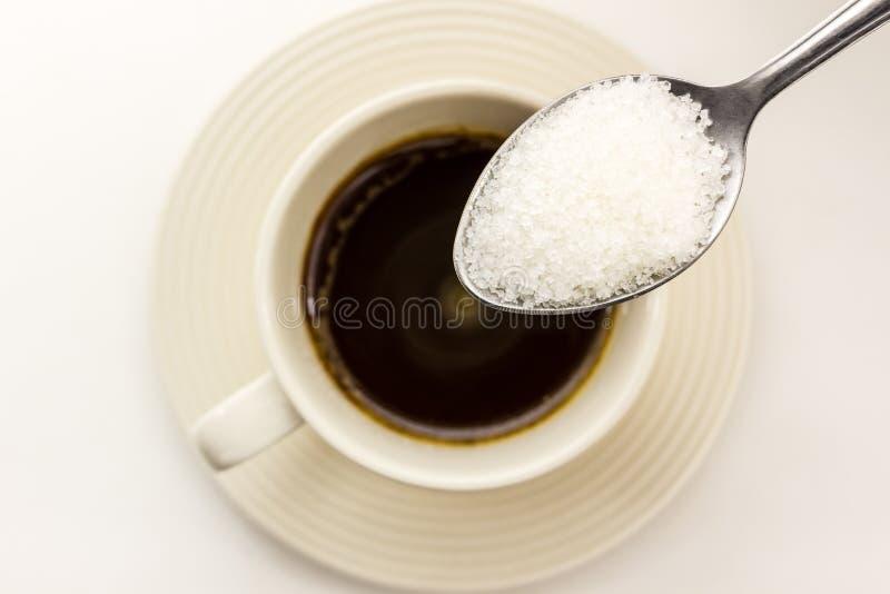 Suiker in de lepel. royalty-vrije stock afbeelding