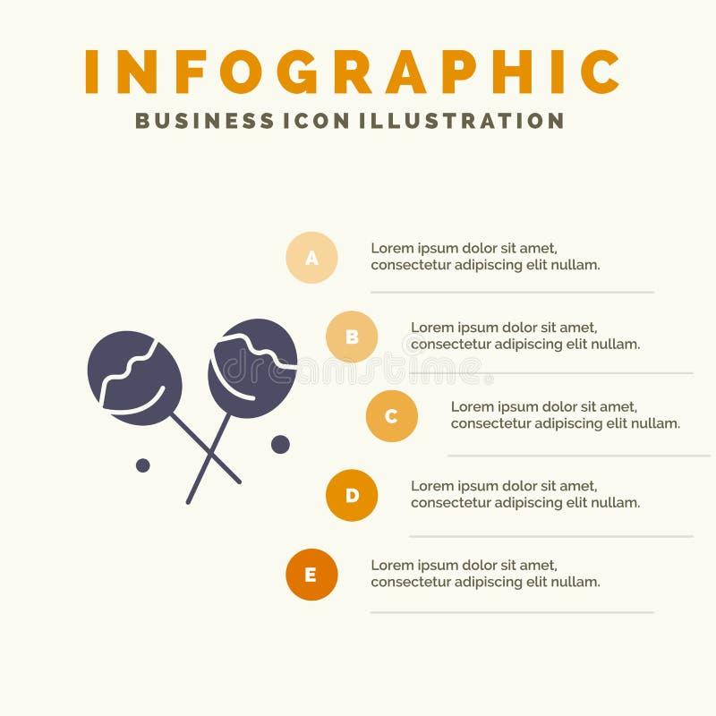 Suikergoed, Banketbakkerij, het Stevige Pictogram Infographics 5 van de Hartlolly de Achtergrond van de Stappenpresentatie vector illustratie