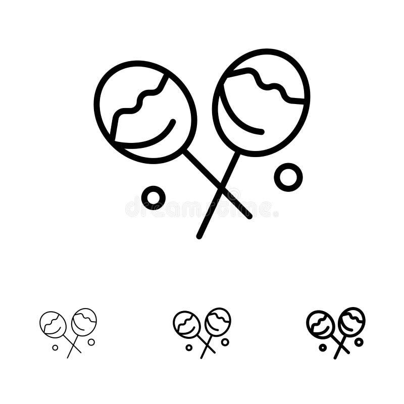 Suikergoed, Banketbakkerij, reeks van het de lijnpictogram van de Hartlolly de Gewaagde en dunne zwarte stock illustratie