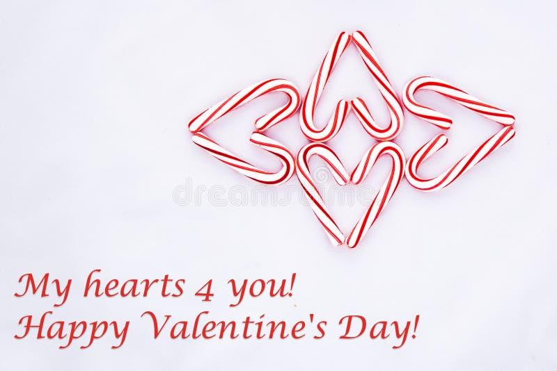 Suikergoed Cane Shaped Hearts Valentine Card royalty-vrije stock fotografie