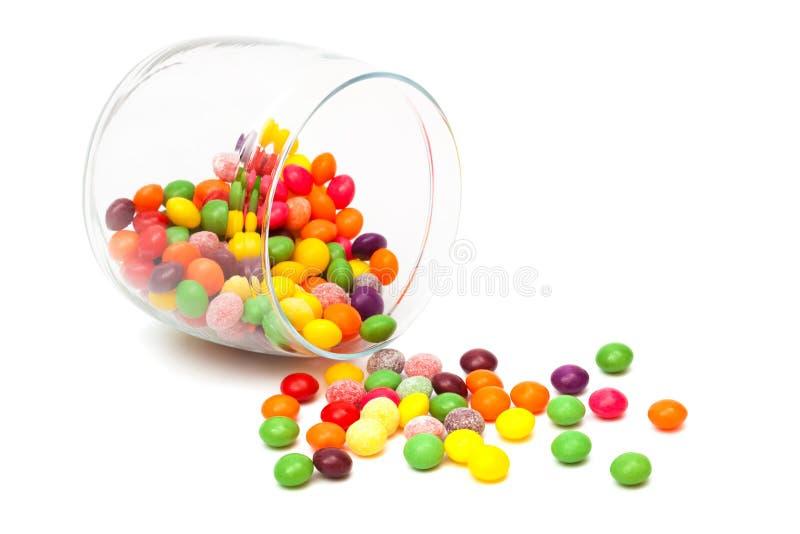 Suikergoed in een glaskruik stock afbeeldingen