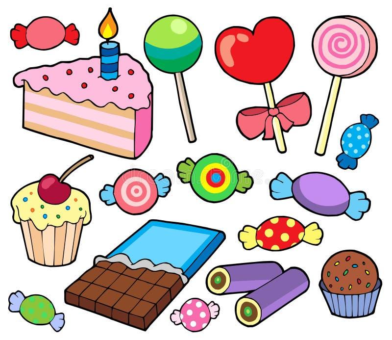 Suikergoed en cakesinzameling vector illustratie