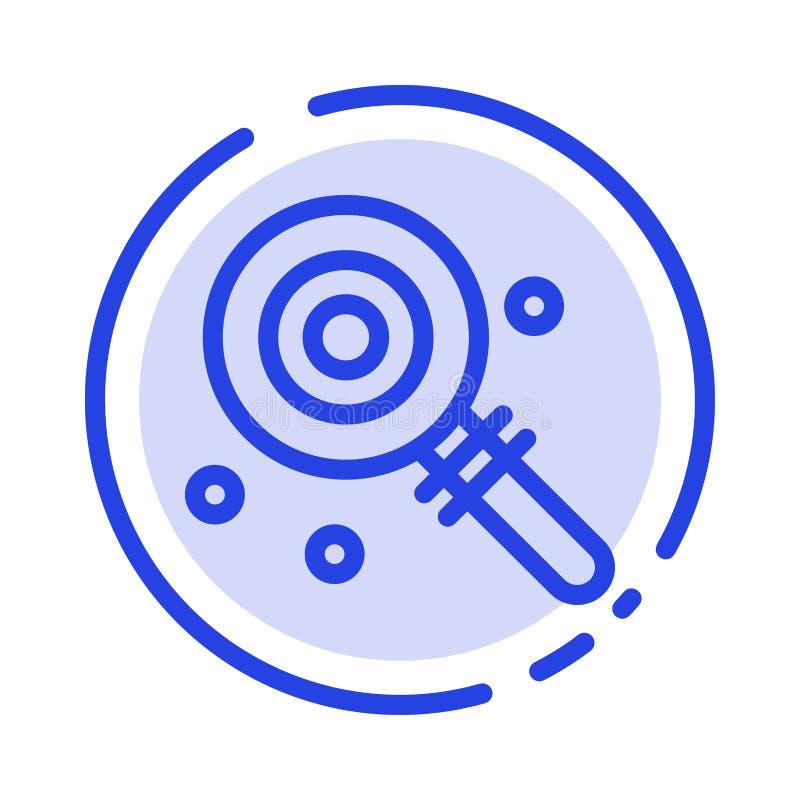 Suikergoed, Lollypop, Lollie, het Zoete Blauwe Pictogram van de Gestippelde Lijnlijn vector illustratie