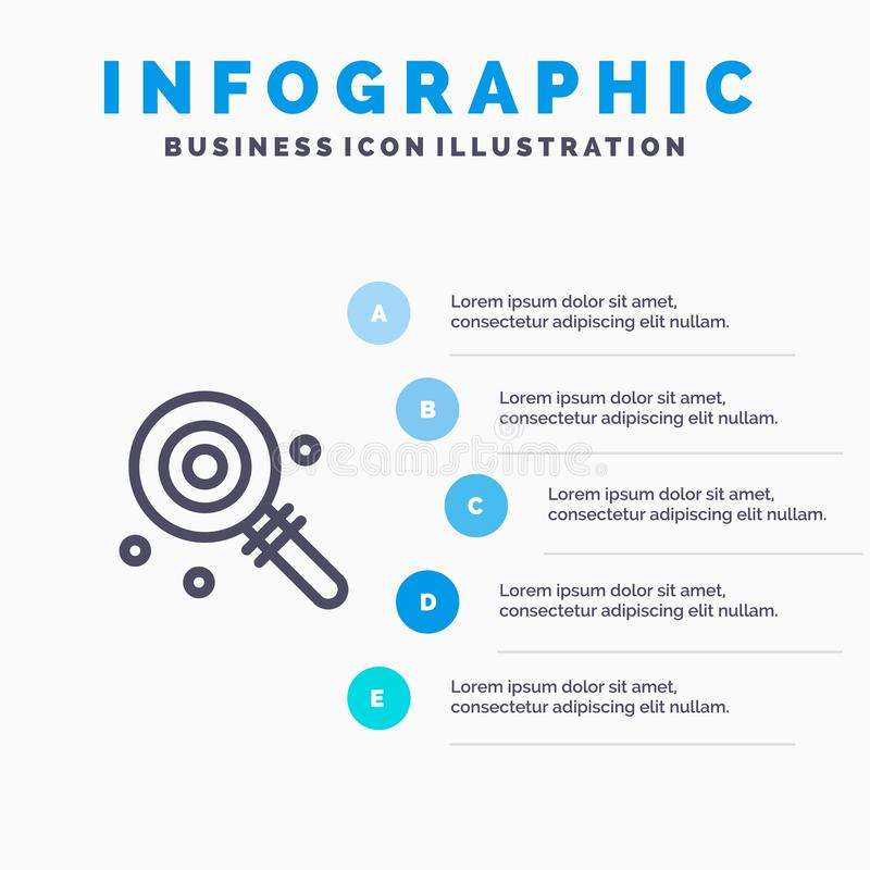 Suikergoed, Lollypop, Lollie, Zoet Blauw Infographics-Malplaatje 5 Stappen Het vectormalplaatje van het lijnpictogram vector illustratie