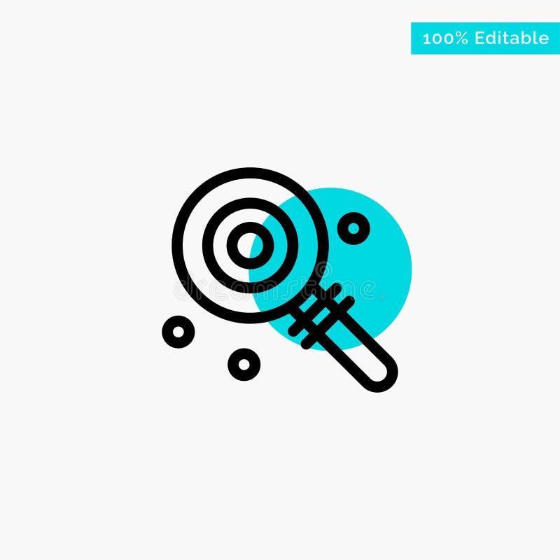 Suikergoed, Lollypop, Lollie, Zoet turkoois het punt Vectorpictogram van de hoogtepuntcirkel vector illustratie