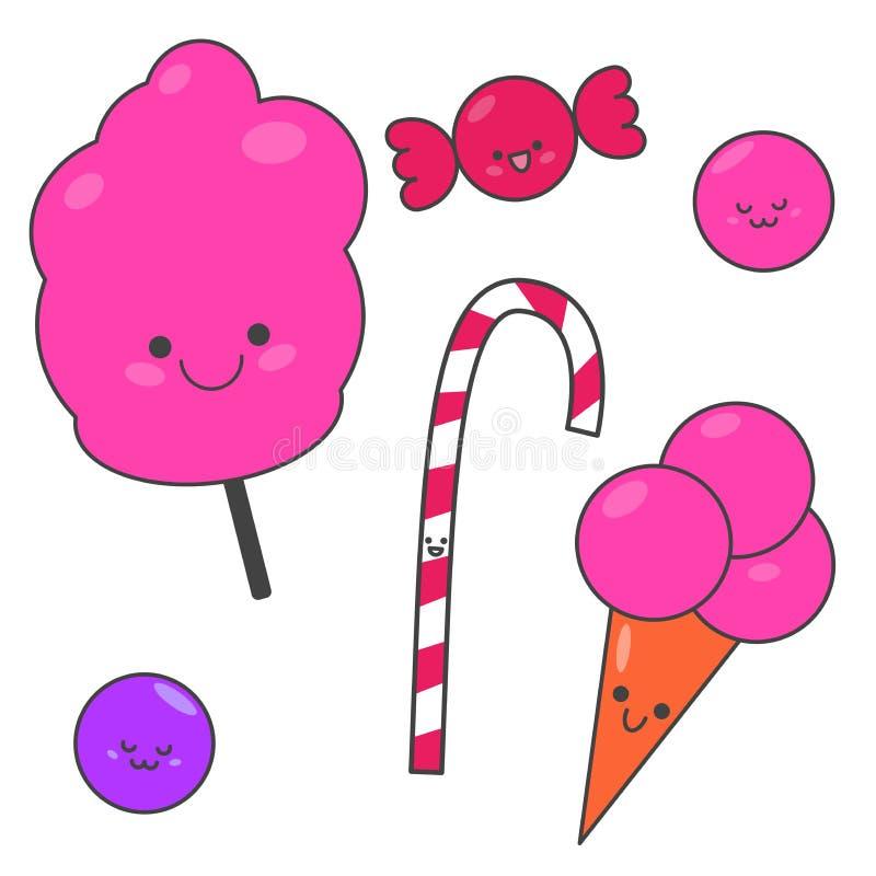 Suikergoed van het Seth het grappige beeldverhaal Zoete reeks snoepjes Illustratie voor kinderen vector illustratie