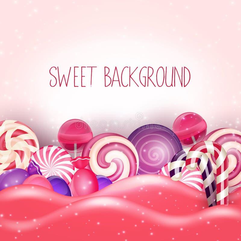 Suikergoed van roze landachtergrond stock illustratie