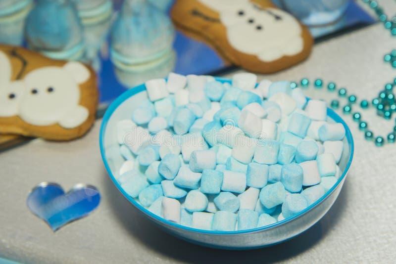 Suikergoedbar op huwelijksceremonie met verschillend suikergoed stock fotografie