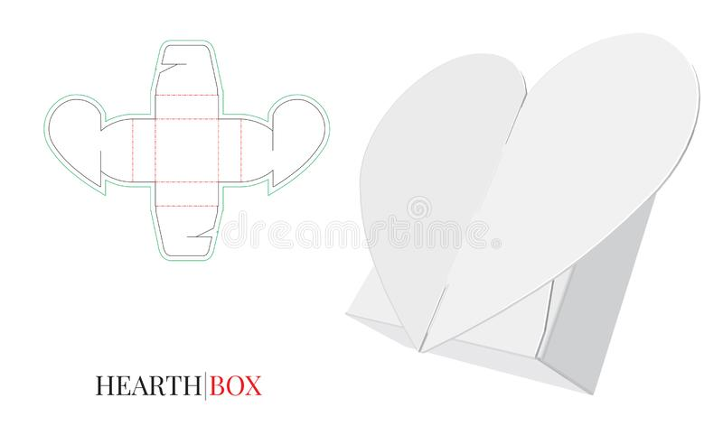 Suikergoeddoos, het Hart van de Giftdoos, Zelfsluitende Doosillustratie, Verpakkingsontwerp stock illustratie