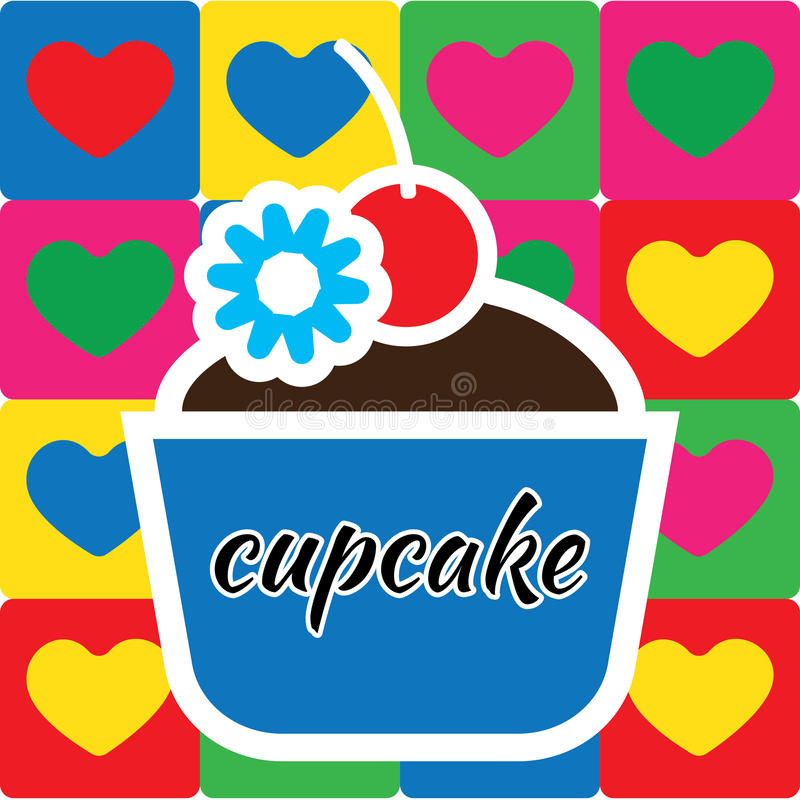 Suikergoedkaart met de grote cakes van de fruitroom met chocolade royalty-vrije illustratie