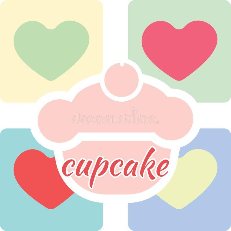 Suikergoedkaart met een grote cake van de fruitroom met kers op bovenkant royalty-vrije illustratie